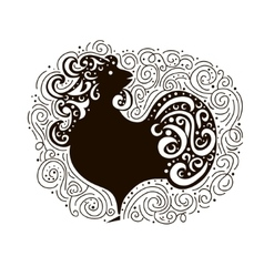 Black Cock - Symbol of New Year 2017 Rooster vector image