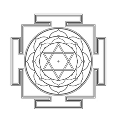 Black outline bhuvaneshwari yantra vector