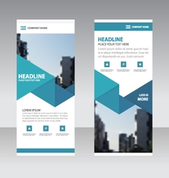 Blue triangle Business Roll Up Banner templates vector image