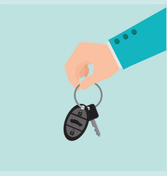businessman hand holding car key vector image