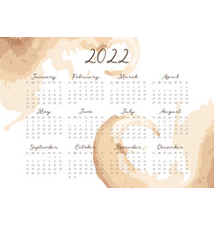 Calendar for 2022 with abstract watercolor vector
