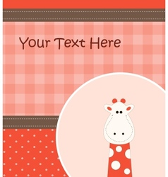 Card with cartoon giraffe vector image