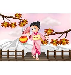 Cartoon Japanese Girl vector