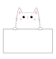 Cat face head silhouette hanging on paper board vector