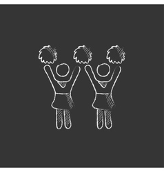 Cheerleaders drawn in chalk icon vector