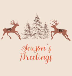 christmas greeting card reindeers and pine trees vector image