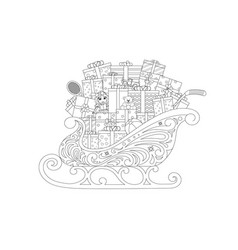 Christmas sleigh withgifts vector