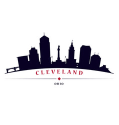 Cleveland skyline black silhouette vector