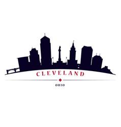 cleveland skyline black silhouette vector image