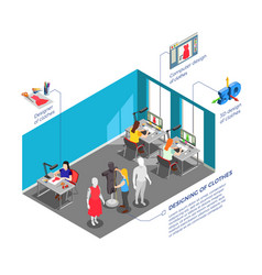 Clothes factory designers isometric composition vector