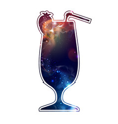 cocktail silhouette with open space universe vector image