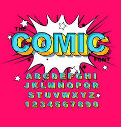comic alphabet retro blue letters numbers for vector image