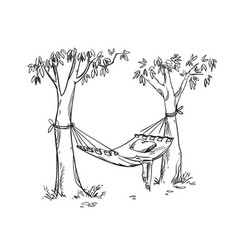 Cosy hammock in a garden line drawing vector