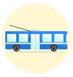 Cute colorful flat trolley bus icon vector