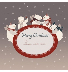 Cute polar bears celebrating Christmas vector image