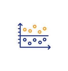 dot plot graph line icon presentation chart sign vector image