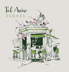 drawing sketch a kiosk cafe in tel aviv vector image
