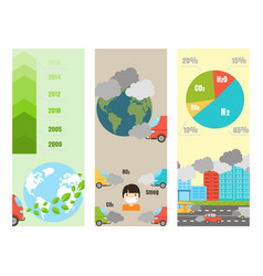 ecology infographics cards set with air water and vector image