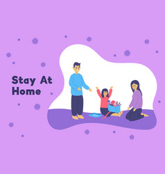 Family staying at home in self quarantine vector