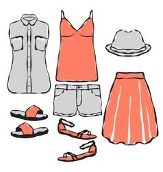 Fashion wardrobe objects set vector image