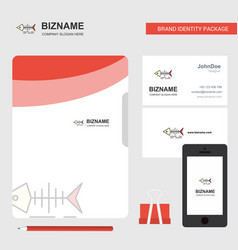 fish skull business logo file cover visiting card vector image
