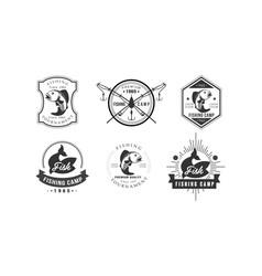 Fishing tournament logo design fishing camp vector
