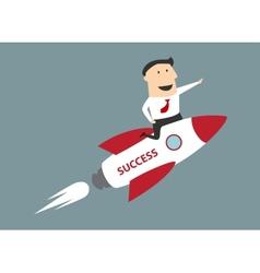 Flat cartoon businessman flying on rocket to vector image