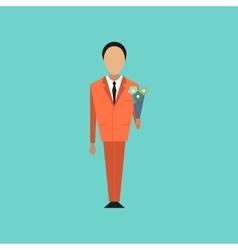 flat icon on stylish background schoolboy flowers vector image