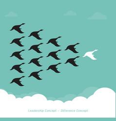 Flock of a duck flying in the sky leadership vector