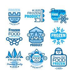 Frozen food product set logo templates hand vector