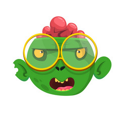 Funny zombie head cartoon character vector