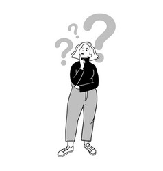 Girl and mental questioning marks drawn vector