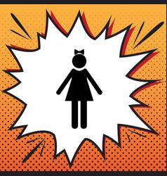 Girl sign comics style icon vector