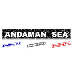grunge andaman sea scratched rectangle stamp seals vector image