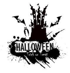 grunge halloween haunted castle vector image