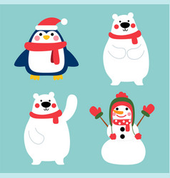happy winter character in winter costume vector image