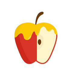 honey on red apple icon flat style vector image
