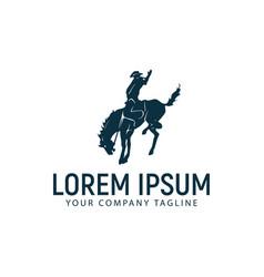 horseback riding logo design concept template vector image