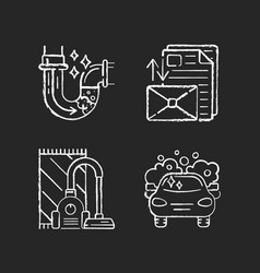 Housekeeping services chalk white icons set on vector