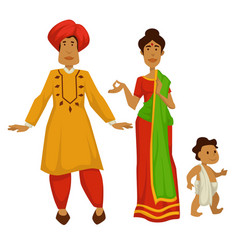 indian family woman in sari and man in turban baby vector image