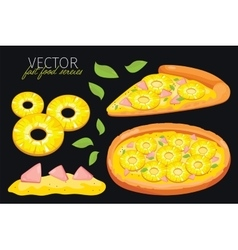 Isolated pineapple pizza Fast food set vector image