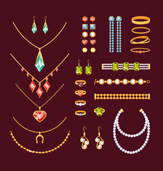 jewelry items set fashionable necklaces vector image