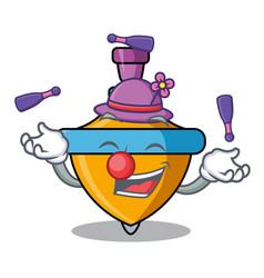 Juggling spinning top mascot cartoon vector