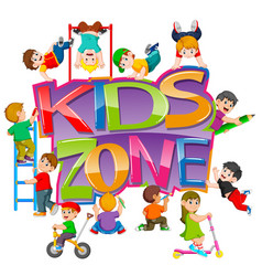 kids zone text with children vector image