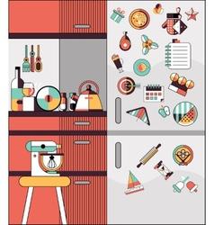 Kitchen interior flat line vector image