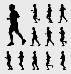 man and woman running silhouettes vector image