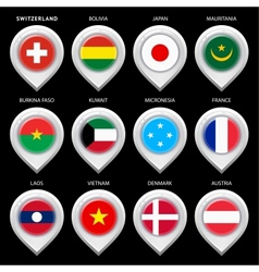 map marker with flag-set first vector image