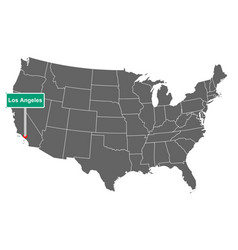 Map usa with road sign los angeles vector