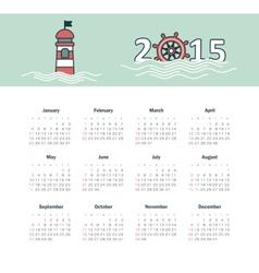Marine calendar 2015 year with lighthouse vector image