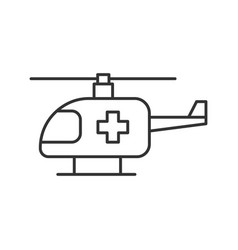 Medical helicopter linear icon vector